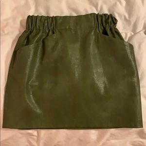 "Zara Olive ""leather"" skirt"